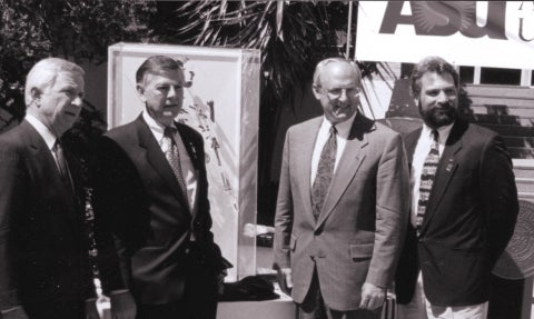 Former ASU President Lattie Coor, IHO Founding Director Donald Johanson, Former CLAS Dean Gary Krahenbuhl, and IHO Director William Kimbel
